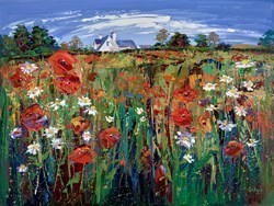 Wild Poppy Meadow, Ballancrieff by Lynn Rodgie -  sized 40x30 inches. Available from Whitewall Galleries